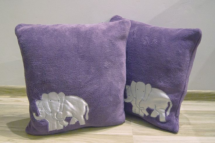 Słonie lubią fiolet #slonie #poduszka #sypialnia #salon #zwierzeta #tkanitka