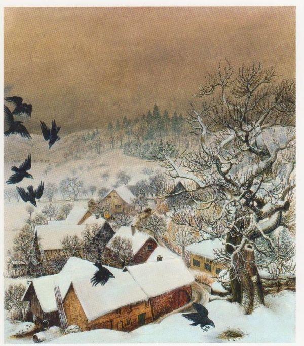 Otto Dix Randegg in snow with ravens