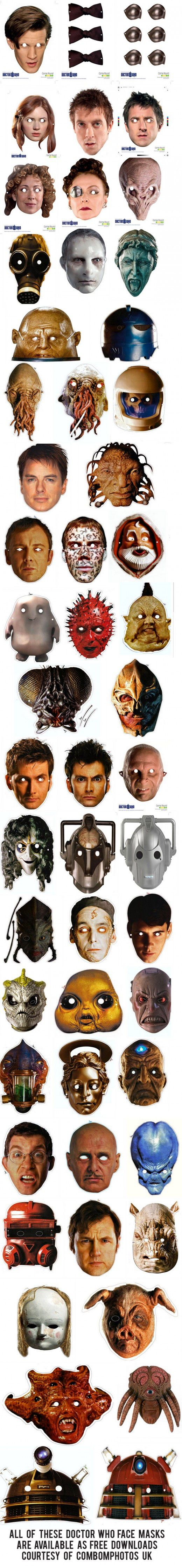 Whovian printables face masks