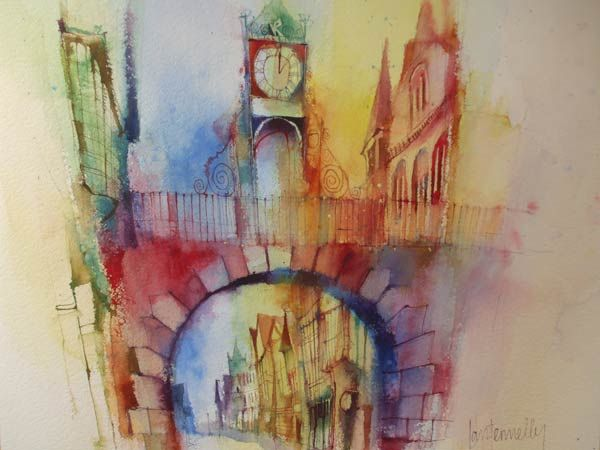 Ian Fennelly Eastgate Clock, Chester, watercolour