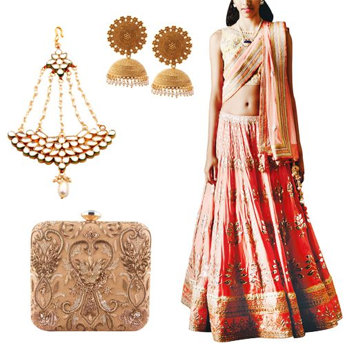Sangeet outfit option for female guests including Crescent Kundan and Pearl Passa by Shillpa Purii, Gold Pearl Drops Jhumkas by Shillpa Purii, Aakaanksha Lehenga by Anita Dongre and Maharani Gold Clutch by The Purple Sack.