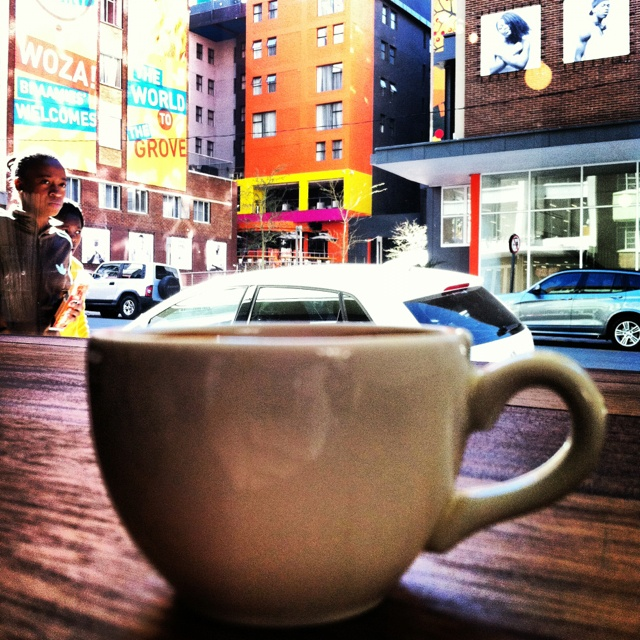 Double espresso at Doubleshot, Braamfontein with a @hotellamunu view