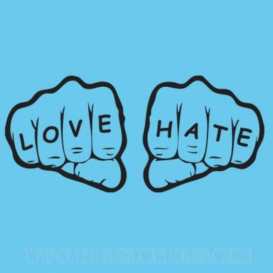 Love/Hate - Womens T-shirt or Hoodie in a variety of colours size XS to XL