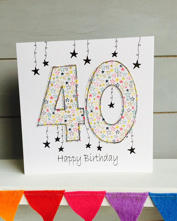40th Birthday Card Male Unisex Female Boys Girls Age