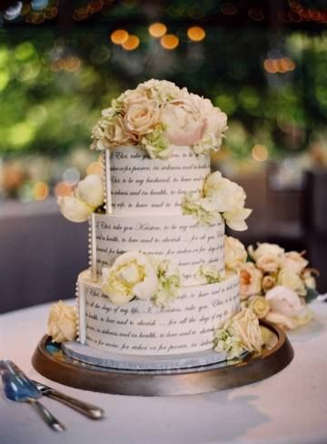 Text typography wedding cake