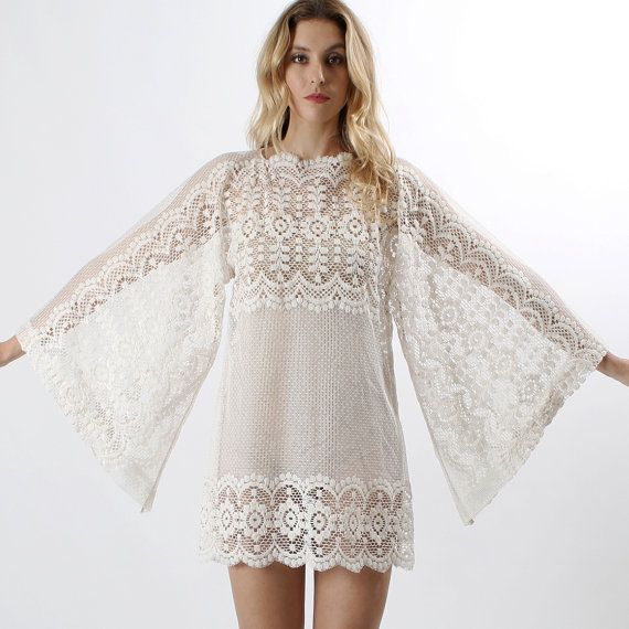 Vintage 70s Sheer SCALLOP LACE Kimono angel by americanarchive, $198.00