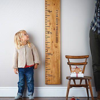'Kids Rule' Mid Oak Wooden Ruler Height Chart