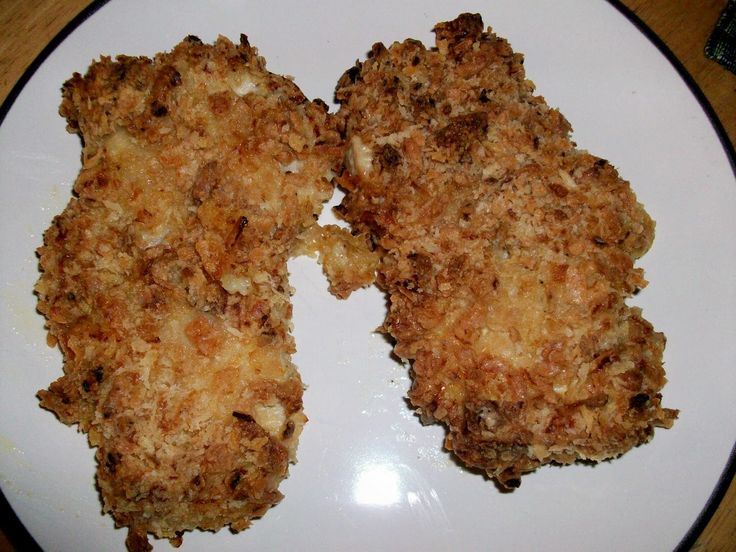 4 boneless pork chops ¼ cup mayonnaise ¼ cup milk 1 heaping Tbsp. mustard ¼ cup flour ¼ cup Panko  bread crumbs ½ cup crushed French fri...