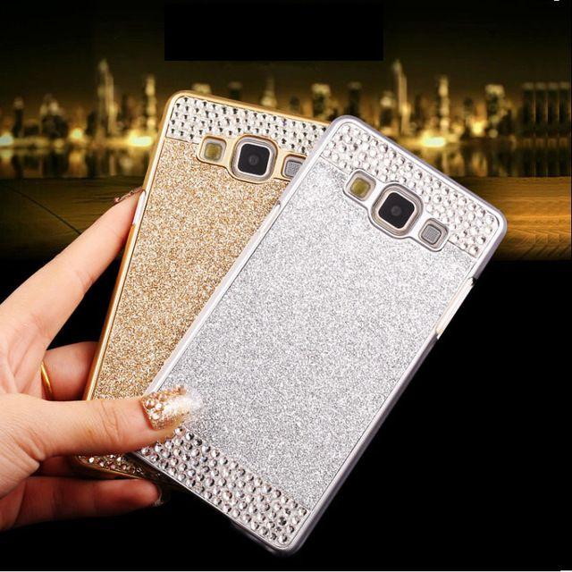 Cristal de lujo de Bling del brillo del diamante de plástico duro de la caja del teléfono cubierta para Samsung Galaxy gran Prime G5308 G7106 Duos i9082 A8