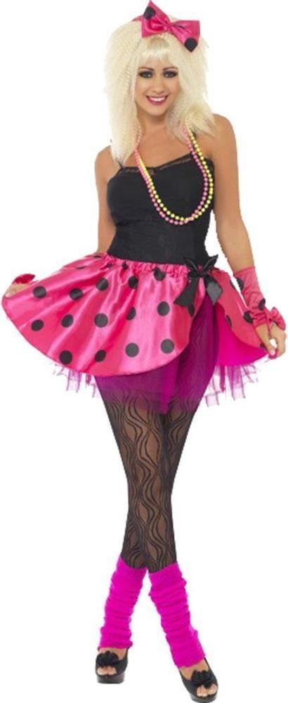Ladies 1980s Fancy Dress Party Pink Tutu Instant Kit Women's Complete Club Dress