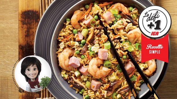 Riz frit aux crevettes et au jambon de Josée di Stasio #IGA #Recettes #Asiatique