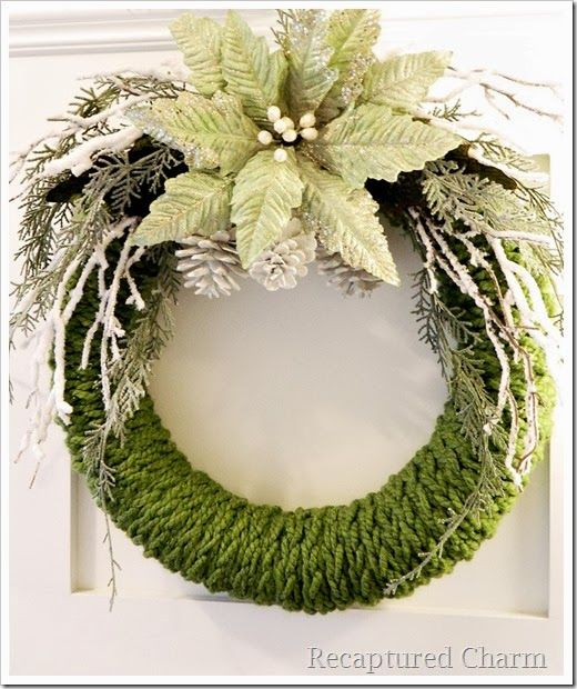 Finger Knitted Christmas Wreath with craft embellishments. Beautiful and neutral!
