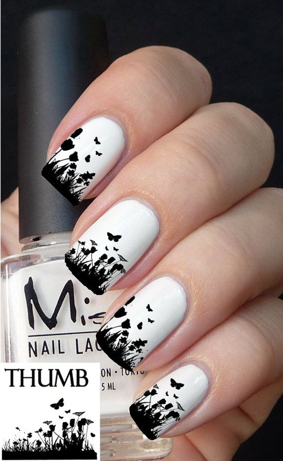 Floral grass nail decal by DesignerNails on Etsy, $3.95