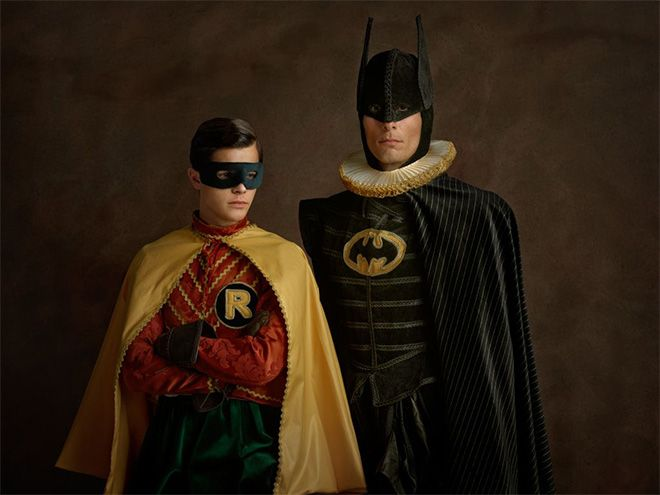 Elizabethan Superheroes. Made me giggle a little bit... Think they could've been a tad more creative with Iron Man and a few others. But I respect the attempt