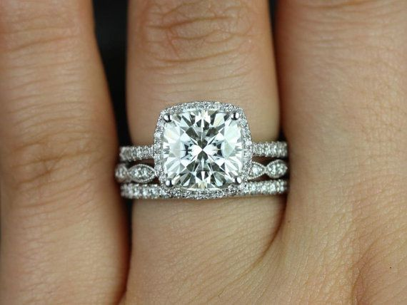 barra queen christie white gold fb moissanite and diamonds halo trio wedding set other metals and stone options available - Stacked Wedding Rings