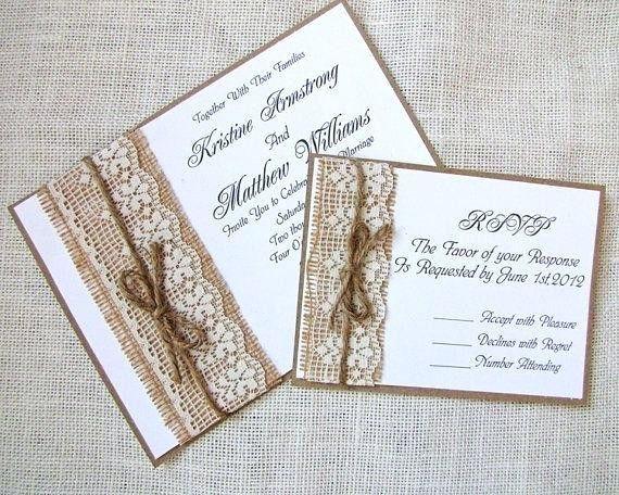 14 Elegant Engagement Congratulations Card Handmade Ideas Images Wedding Invitations Rustic Lace Wedding Invitations Diy Handmade Burlap Wedding Invitations