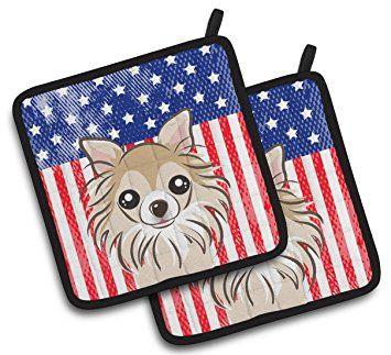 """Custom & Durable {7.5"""" X 7.5"""" Inch Each} 2 Set Pack Mid Size """"Non-Slip"""" Pot Holders Made of Cotton for Carrying Hot Dishes w/ Painted Treasures Patriotic Chihuahua Flag Style [Blue, White, & Black]"""
