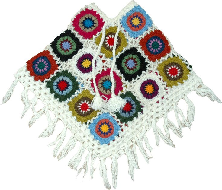 White Crochet Poncho - for sale @ thelittlebazaar - no pattern, just for inspiration