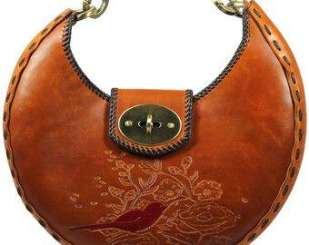 Tooled Leather Handbag - Crescent
