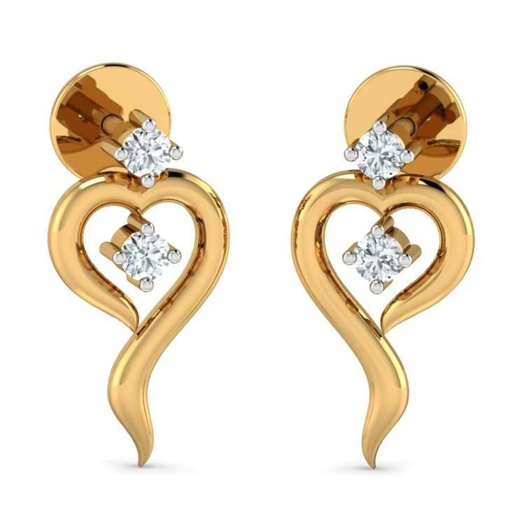 Designer Gold Studs Earrings From Aurobliss Online Jewellery India The Stud Looks Like Heart Shaped Which So Elegant And Beautiful