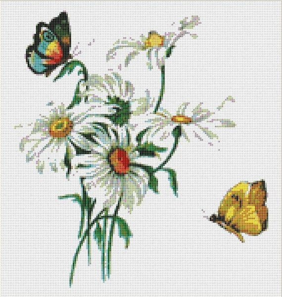 Daisies and Butterflies Cross Stitch Pattern от NeedleAndFloss