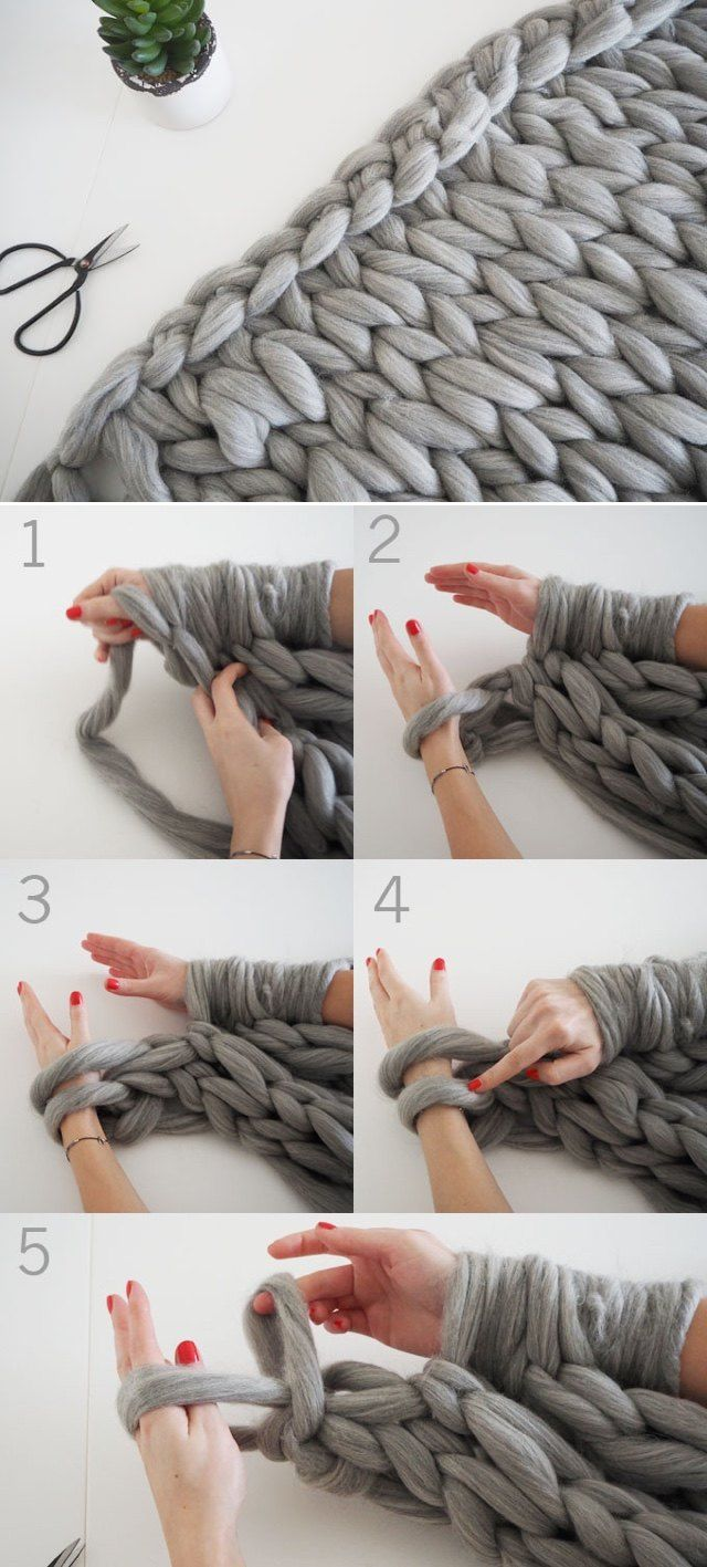 DIY Knit a chunky blanket from wool roving   17 Cozy DIY Projects to Keep You Warm This Winter