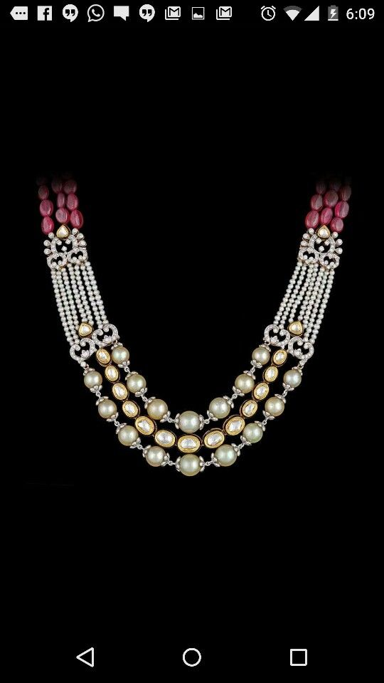 Fancy Fusion diamond + ruby + pearl + kundan set