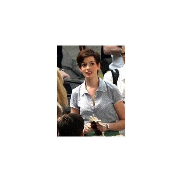 Anne Hathaway pixie hair cut photo ❤ liked on Polyvore featuring hair