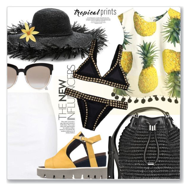 """Pineapple summer"" by jan31 ❤ liked on Polyvore featuring Topshop, Alexander Wang, Strategia, Sensi Studio, kiini and Christian Dior"