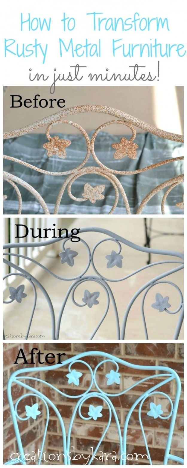 Metal mesh patio chairs - How To Transform Rusty Metal Furniture In Just Minutes