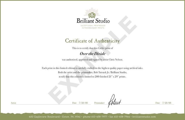 Image result for sample certificate of authenticity for artwork