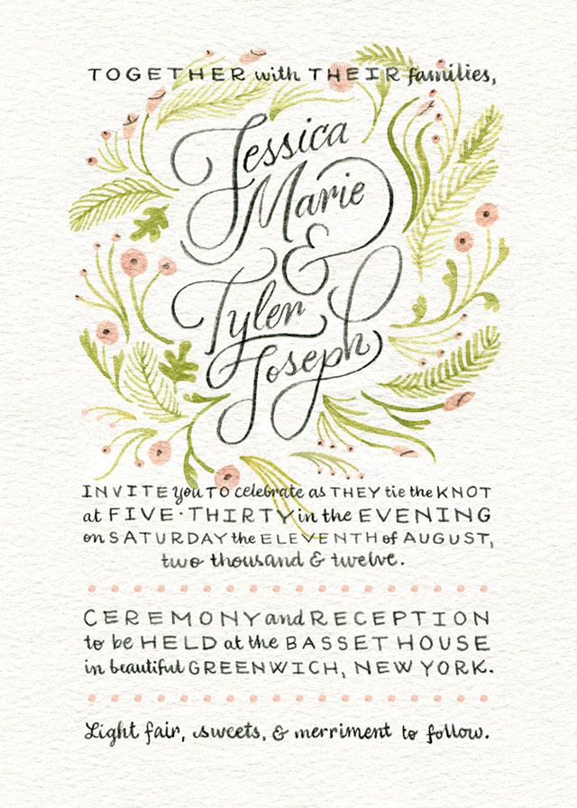 Beautiful Hand Lettered Wedding Invitation By Kelly Thorn
