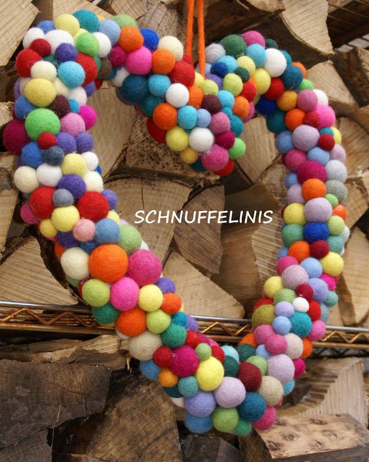Türkranz Herz, Regenbogenfarbenes Herz, Baby Mobile, Wickeltisch Mobile, für Prinzen und Prinzessinen by Schnuffelinis on Etsy