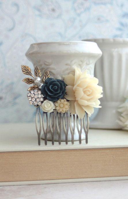 Ivory and Navy Blue, Crystal Rhinestone, Blush Pink Flower Hair Comb. Rustic Blue Ivory Wedding by Marolsha