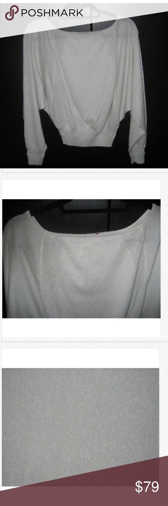 TAMARA MELLON Women's Cropped Cashmere Sweater TAMARA MELLON Women's Cropped Knit Shirt Sweater Top 84% Cashmere/10 % Metallic/6% Nylon Off White, Light Gray color. Dolman sleeve. Perforated bands in the front & back. New condition. Tamara Mellon Sweaters Crew & Scoop Necks