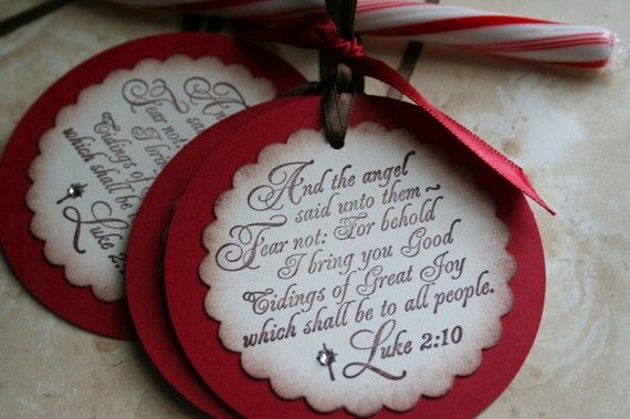 Love the scripture tags!  Could be Christmas ornaments also.:
