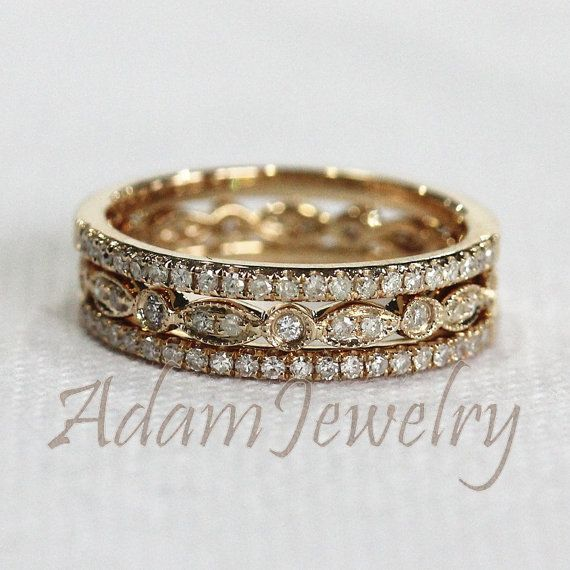 Discount! 3 HALF Eternity Bands Solid 14K Yellow Gold Ring Set 1.2mm Diamonds Wedding Band