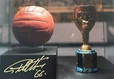 ENGLAND 1966 WORLD CUP TROPHY & BALL PHOTO SIGNED X GEOFF HURST