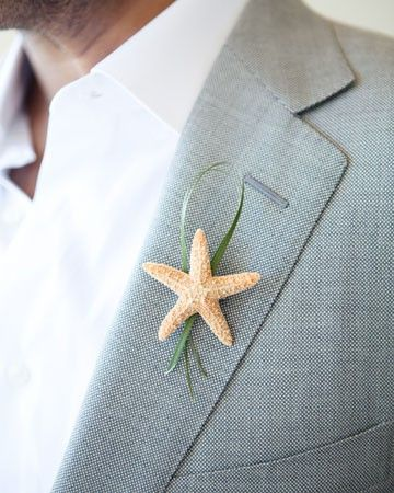 Instead of a flower, a starfish w/ a shamrock or green ribbon---groom w/ a horseshoe for good luck for a St. Patricks Day beach wedding! Cute Idea!