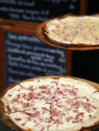 Flammekuche also known as Tarte Flambe, Strasbourg, Alsace, France.  J'adore la tarte flambé! Yum!