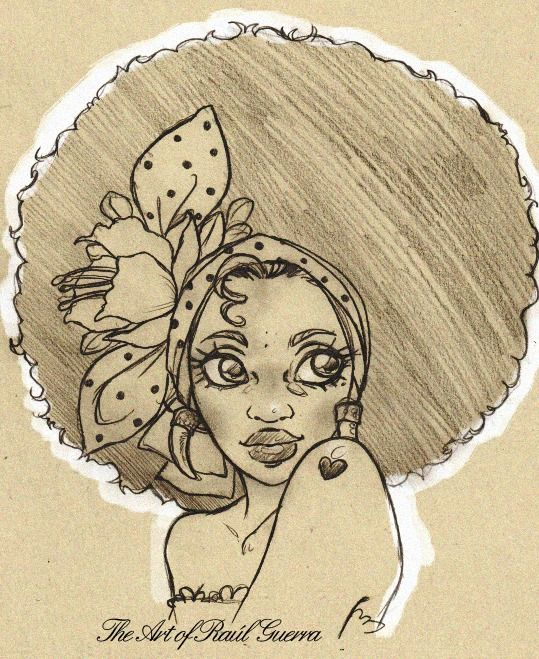 raul-guerra:  Working on this one now!!! AFRO CHIC 2….pencils on paper. -Commissioned artwork- The art of Raúl Guerra. More of my artworks here: http://www.facebook.com/pages/The-Art-of-Raul-Guerra/184089376685