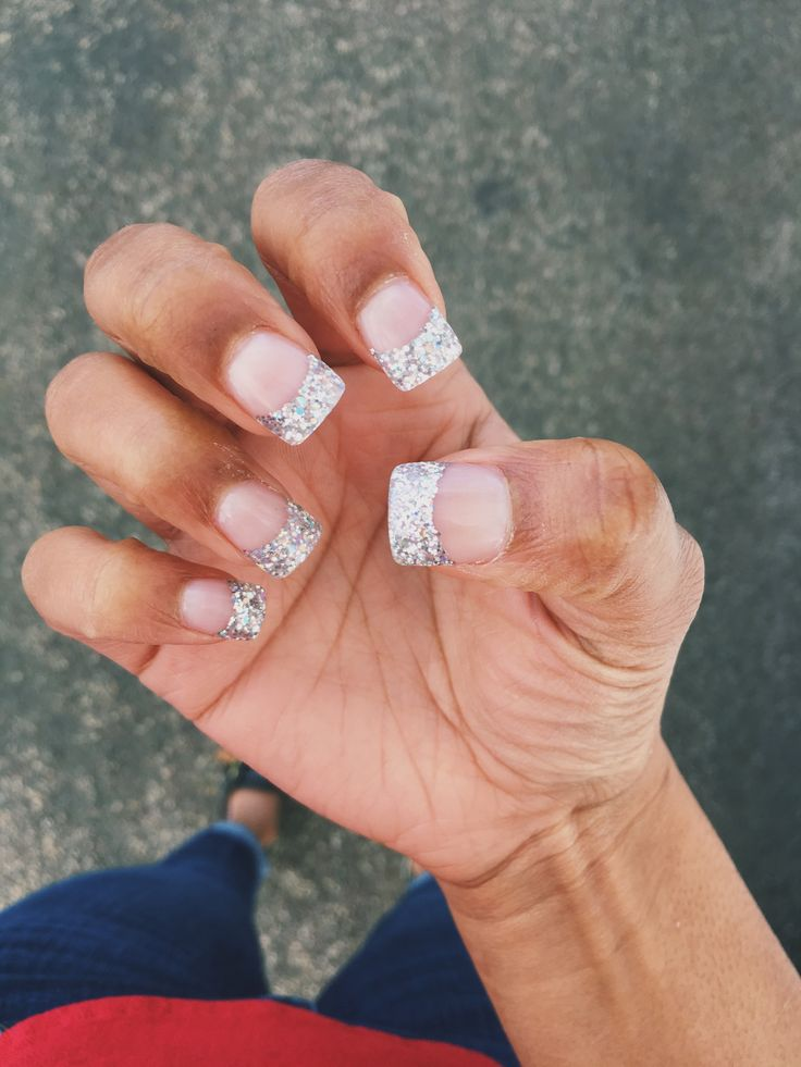 Silver Sparkly French Tip Acrylic Nails