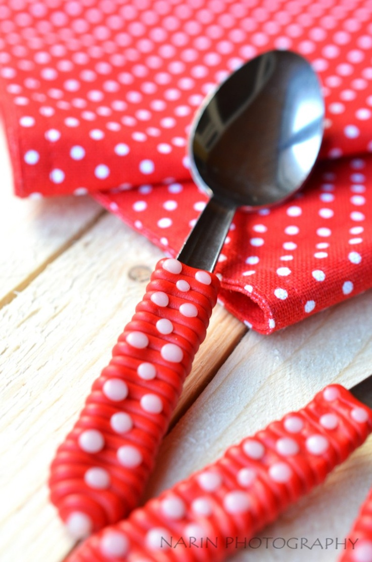 christmas decorate a spoon with fimo