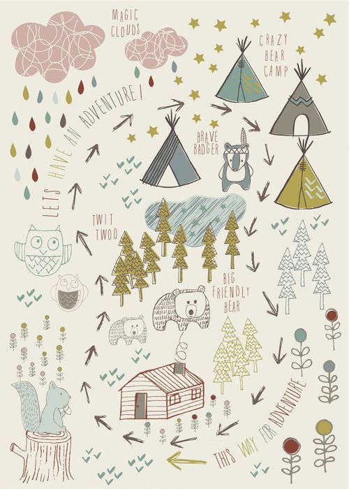 Adventure Forest....this would be a fun campsite activity for the kids....to draw their own maps and label what they find and what they do, who they meet.....etc.