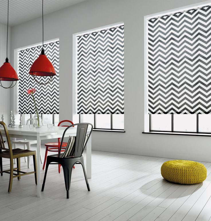 Mezza Noir Roller Blind #thefabricbox #contemporaryinteriors #zigzag #chevron