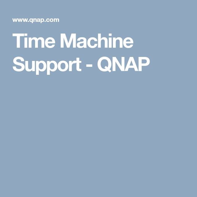 Time Machine Support - QNAP