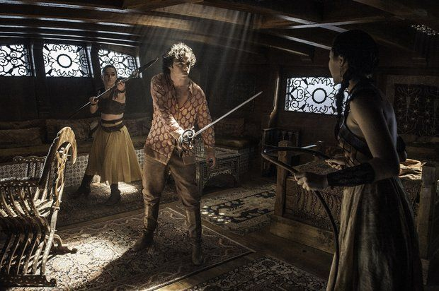 Keisha Castle-Hughes as Obara Sand, Toby Sebastian as Trystane Martell, and Jessica Henwick as Nym Sand in 'Game of Thrones' Season 6, Episode 1 -- 'The Red Woman'Trystane Martell was killed by Obara Sand. She shoved her spear through the back of his head, killing him, as he prepared to face her sister in Season 6, Episode 1 -- 'The Red Woman'