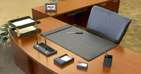 Charming Black Leather Desk Sets