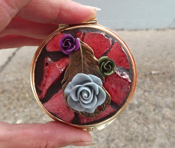 Mosaic Double Sided Mirror Compact by PiecesofhomeMosaics on Etsy, $30.00