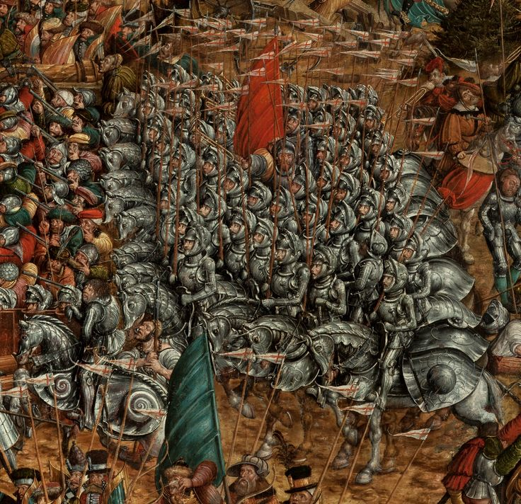 Artist: attributed to Krell, Hans, Title: The Battle of Orsha, Detail: Sqaudron of barded horses, Date: 1525–1535